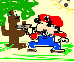 mario holds anthropomorphic tree at gunpoint