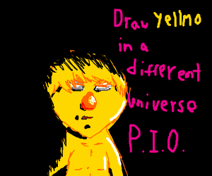 draw yellmo in a different universe pio