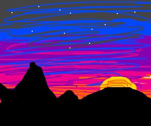 scenery with fuschia sky