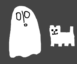 Napstabook from Undertale looking at a canine