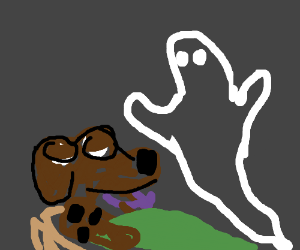 A ghost looking Scooby sleeping