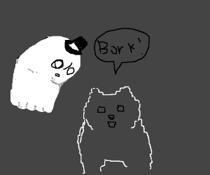 Top hat ghost meets 8 bit gabe the dog