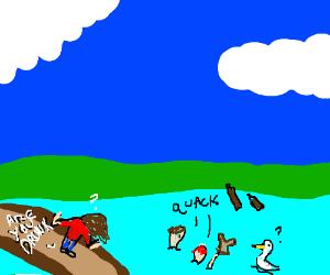 Drunk men feed ducks crumbs