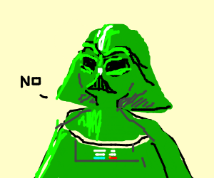 Ankin Skywalker in green suit says no