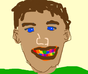 person with rainbow teeth