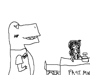 Dinosaur is in love with the cashier