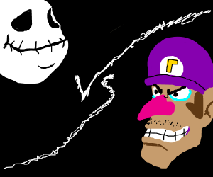 fat skeleton face w/ no nose vs shaved waluigi