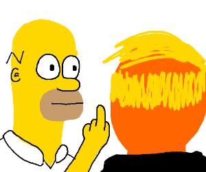 Homer flips off Donald Trump