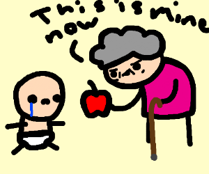 Baby cries as his grandmother steals his apple