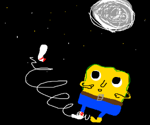 Spongebob's sock flying in the night