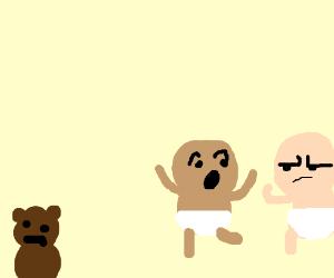 babies conspiracing against a teddy bear.