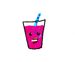 yummy pink milkshake with sprinkles!kawaiiface