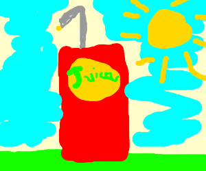 A juice box in the summer