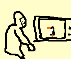 gorilla watches video on how to penguin