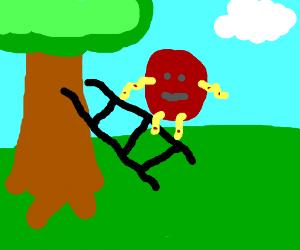 A meatball climbing a ladder