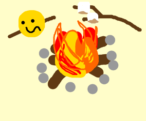 cooking the :S face on a campfire