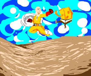 saitama vs spongebob drawception