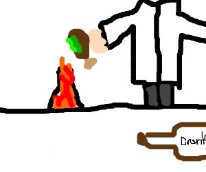 Drunk scientist cooks a rotten turkey leg