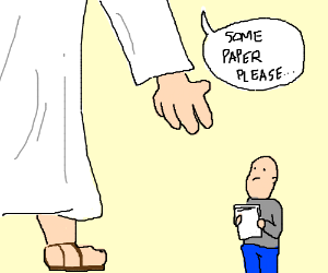 God asks a man to give him paper