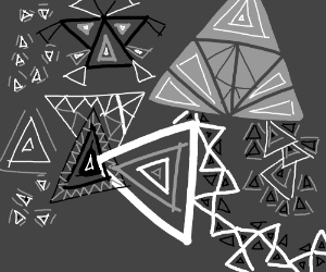 a trippy black and white triangle pattern