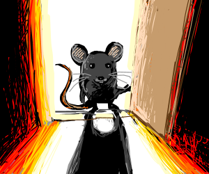 Mouse opening door with light flooding through
