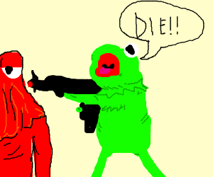 Kermit the frog killing the red guy