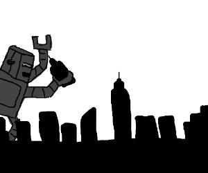 Giant robot smashing a city