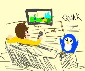 """Man watches """"Adventure Time"""" episode w/ Gunter"""