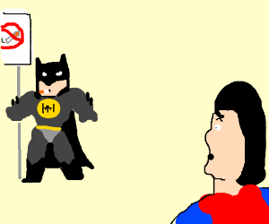 Batman smokes incorrectly in front of Superman