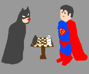 Batman taunting superman before game of chess