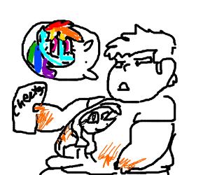 Man considers Rainbow Dash
