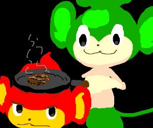 Pansage cooks burgers on Pansear