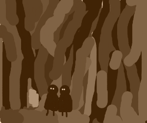 Two kids lost in scary forest.