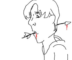 Arrow through the mouth