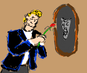 A man romantic  toward sleeping beauty mirror