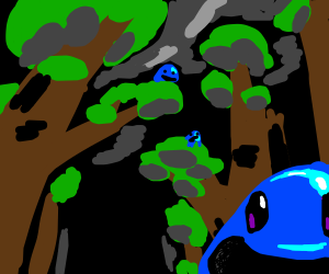 A bunch of silly blobs in a forest