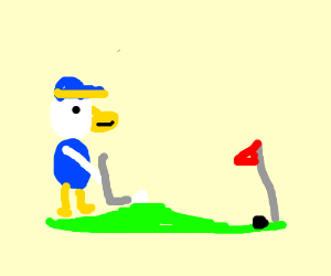 Donald Duck plays golf