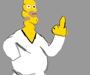 Homer twists his whole body around itself