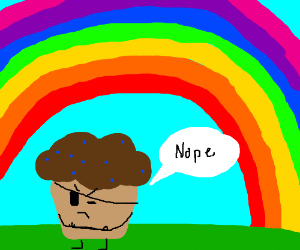 Trouble muffin doesn't look at rainbows