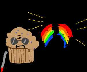 Blind muffin telepathically explodes a rainbow