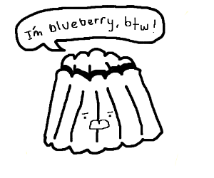 A blueberry Jell-O woman.