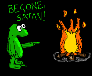 Frog believes fire to be the work of the devil