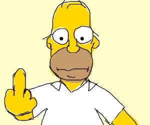 Homer Simpson flips the bird to a man