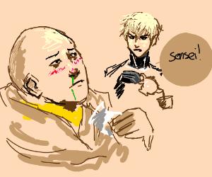 Saitama is ill. Genos brings tea