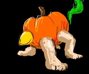 pumpkin with green tail, four legs and a beak