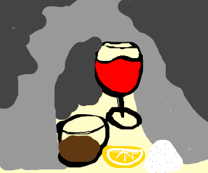 tequila and wine in a mountian at night
