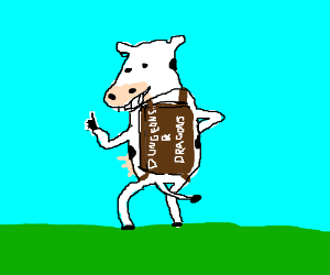 A cow with an RPG on its back