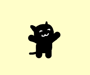 Black kitty-cat with chubby lil' arms