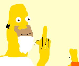 Big bearded Homer flips off tiny Bort