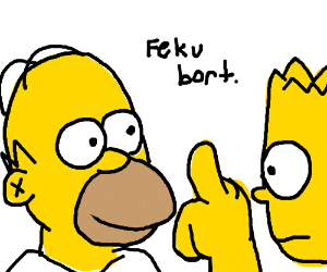 Homer flips off Bart again